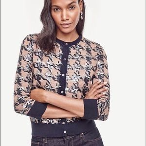 NWT Sequin Houndstooth Cropped Cardigan